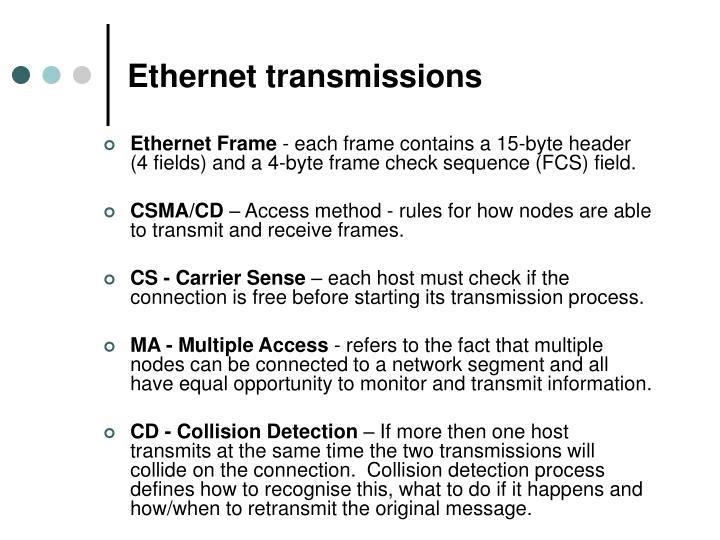 Ethernet transmissions