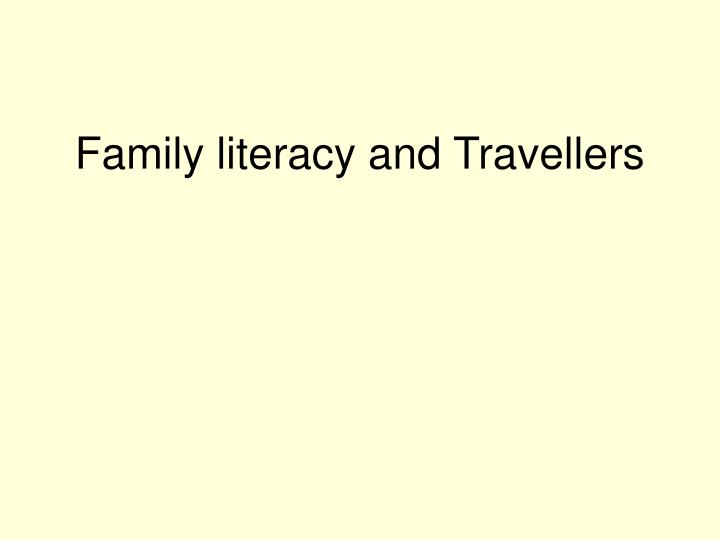 family literacy and travellers n.