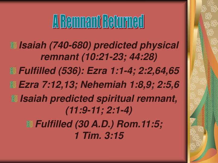 A Remnant Returned