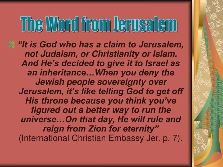 The Word from Jerusalem
