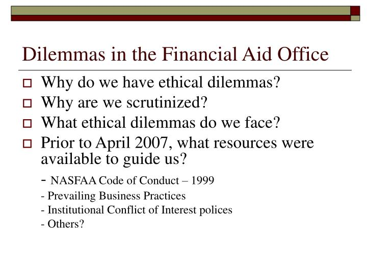 Dilemmas in the Financial Aid Office