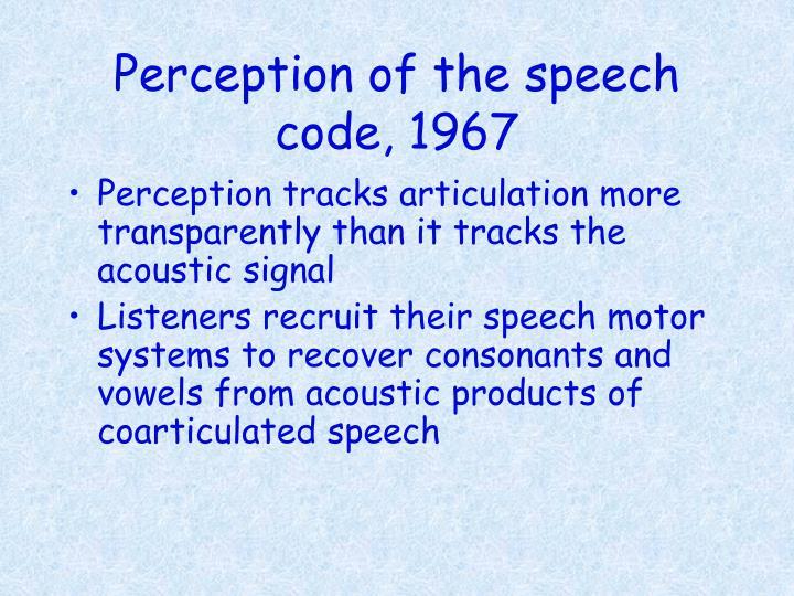 Perception of the speech code 19671