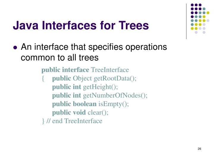 Java Interfaces for Trees