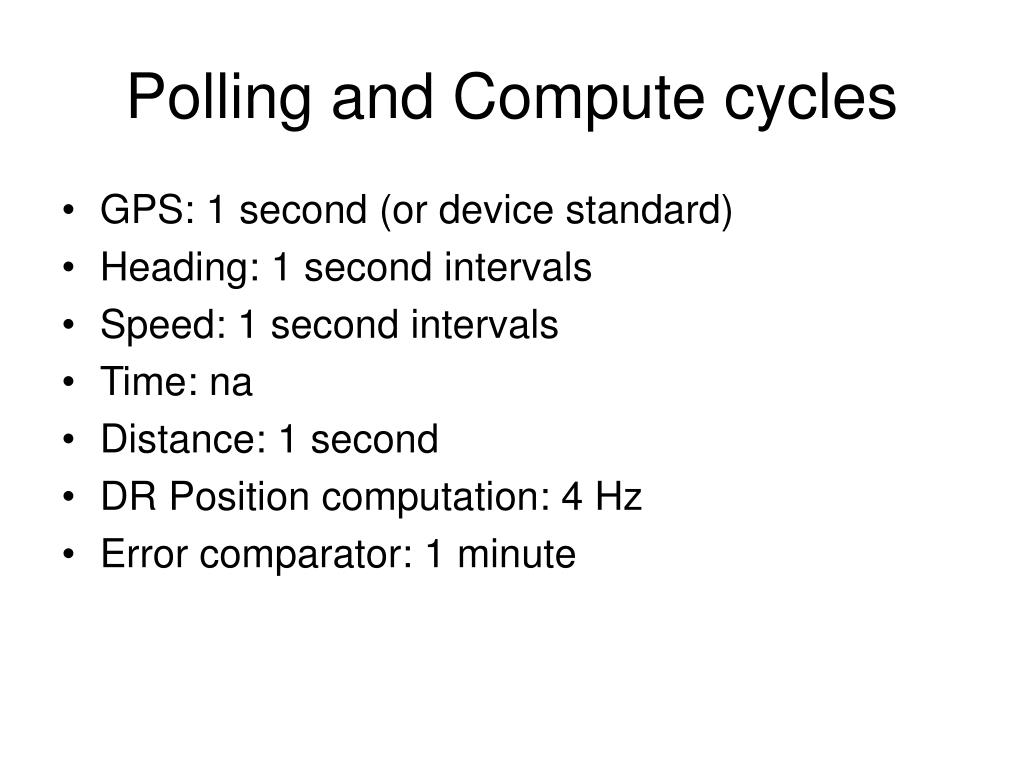 Polling and Compute cycles