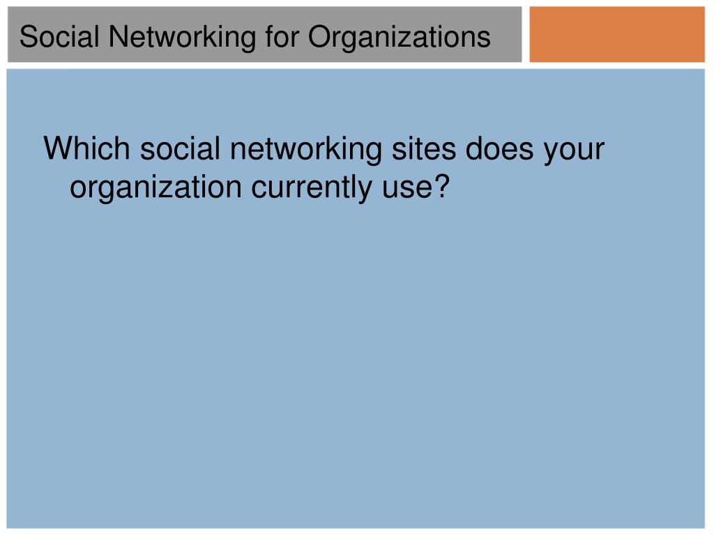 Which social networking sites does your organization currently use?
