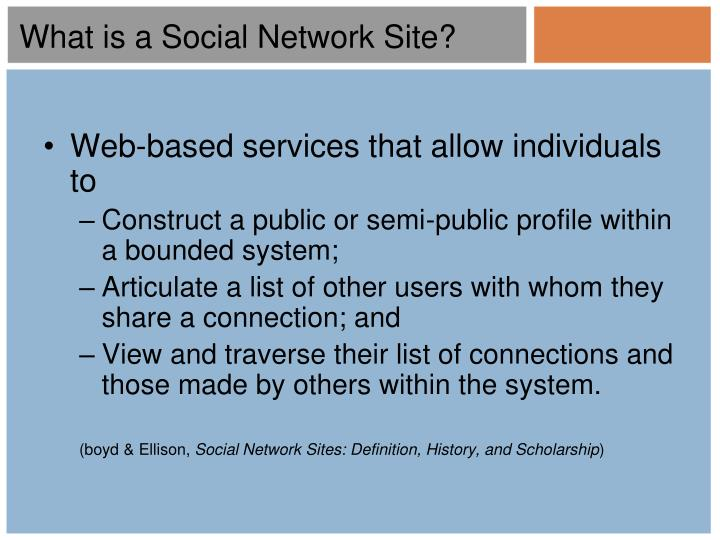 What is a Social Network Site?