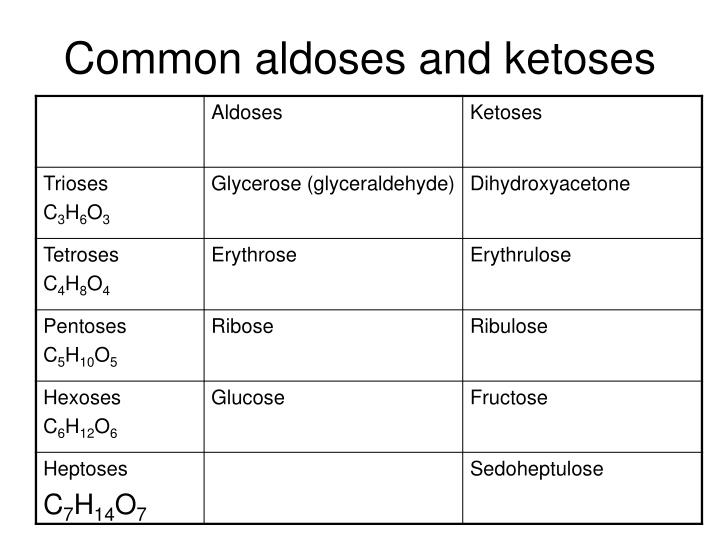 Common aldoses and ketoses