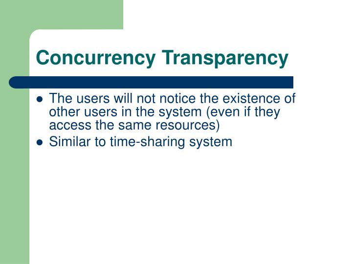 Concurrency Transparency