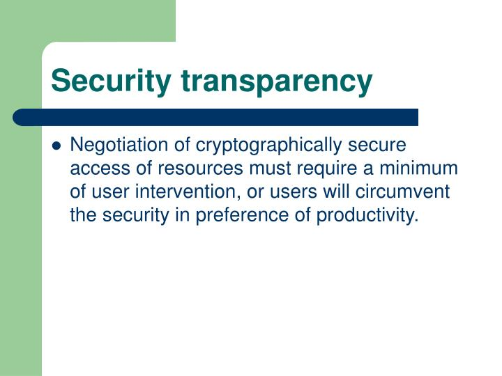 Security transparency