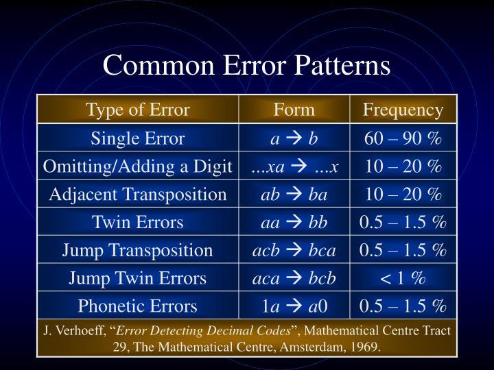 Common error patterns