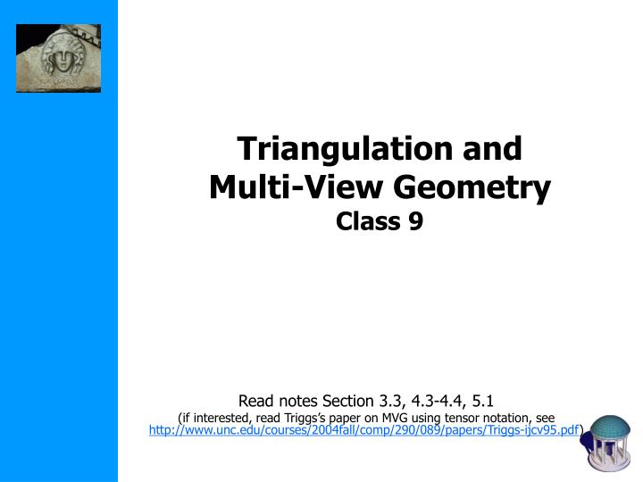triangulation and multi view geometry class 9