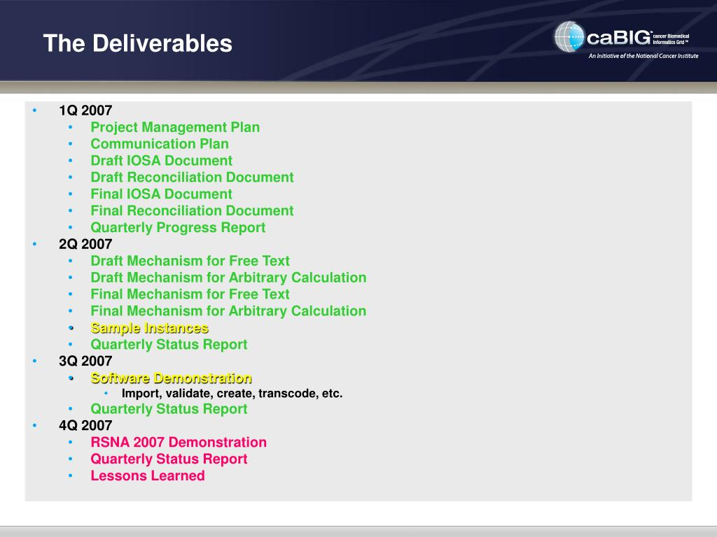 The Deliverables