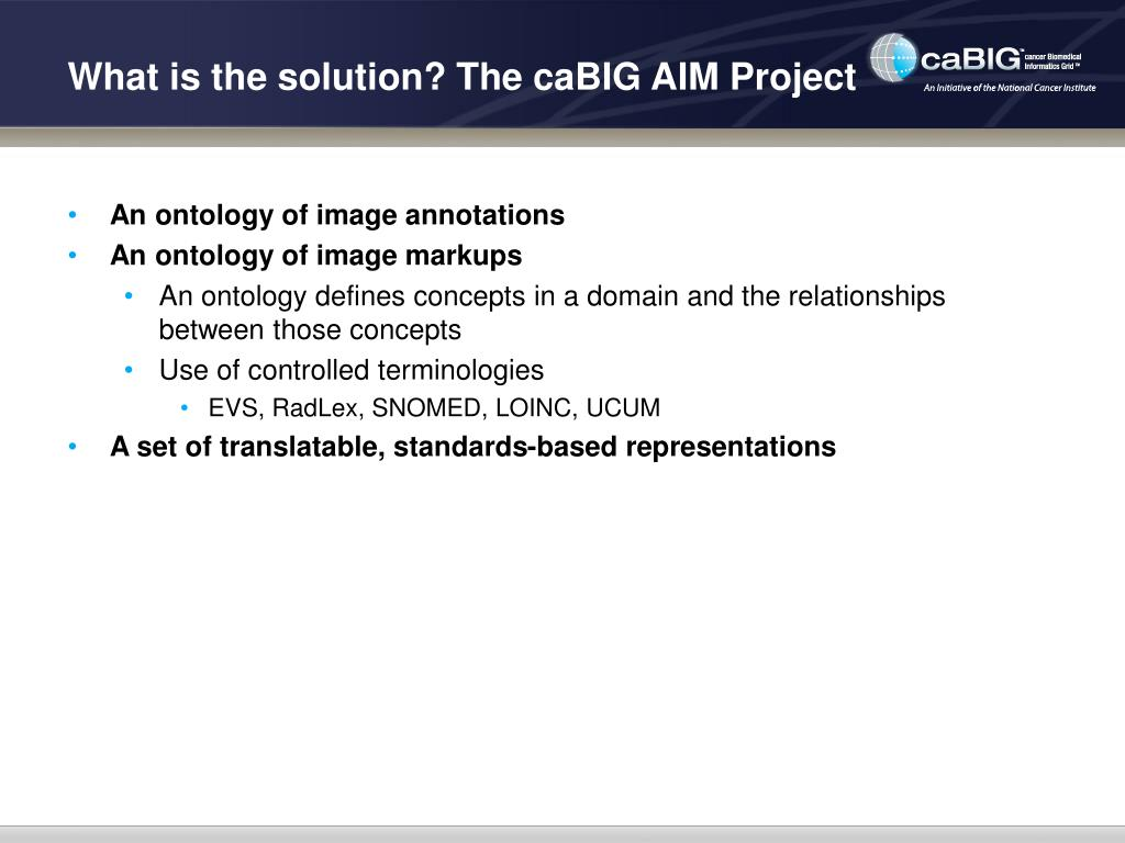 What is the solution? The caBIG AIM Project
