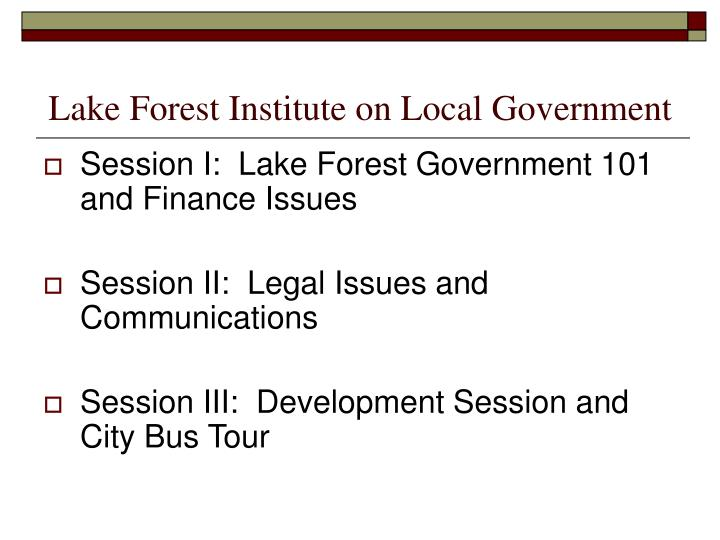 lake forest institute on local government n.