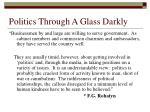 politics through a glass darkly