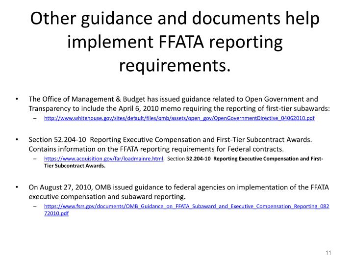 Other guidance and documents help implement FFATA reporting requirements.