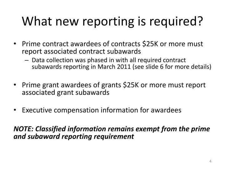 What new reporting is required?