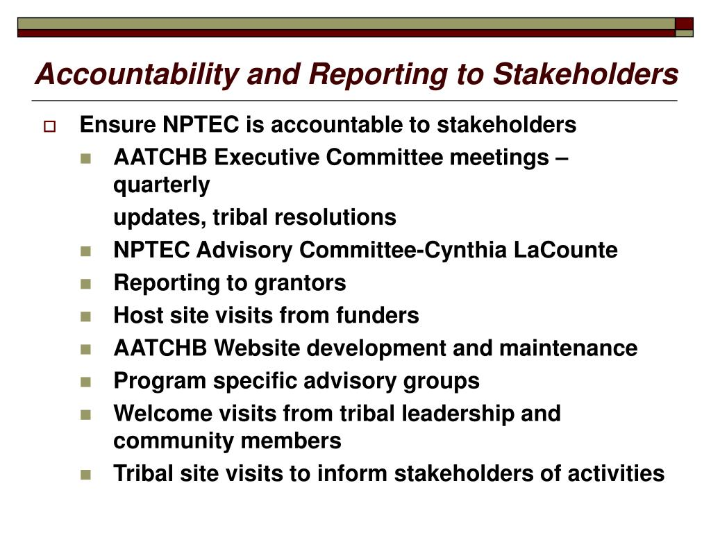 Accountability and Reporting to Stakeholders