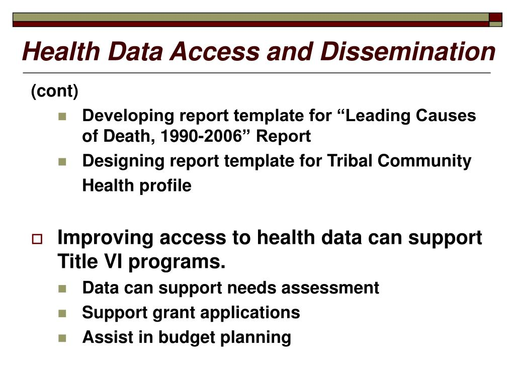 Health Data Access and Dissemination
