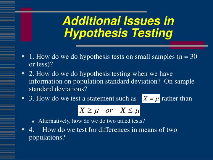 Additional Issues in Hypothesis Testing