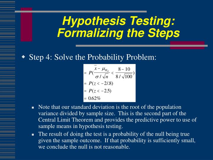 Hypothesis Testing: Formalizing the Steps