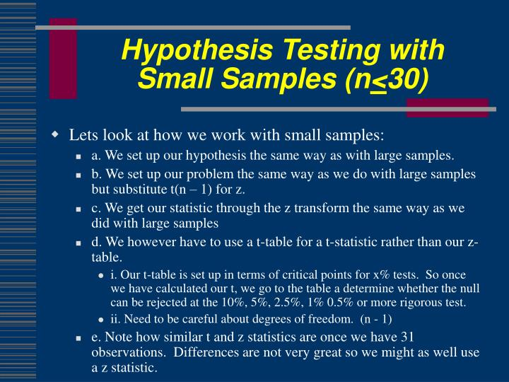 Hypothesis Testing with Small Samples (n