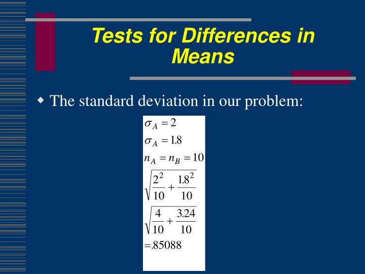 Tests for Differences in Means