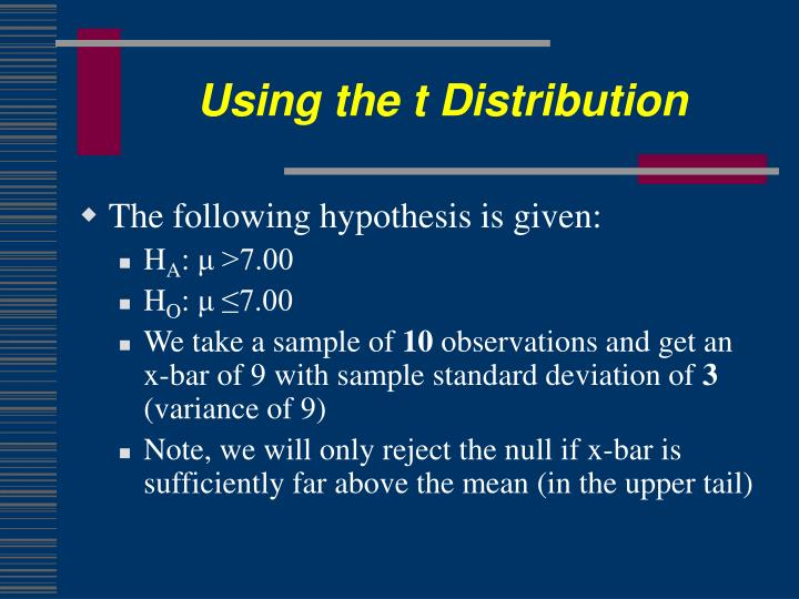 Using the t Distribution