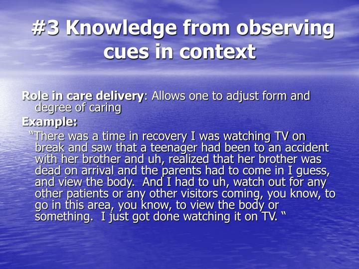 #3 Knowledge from observing cues in context