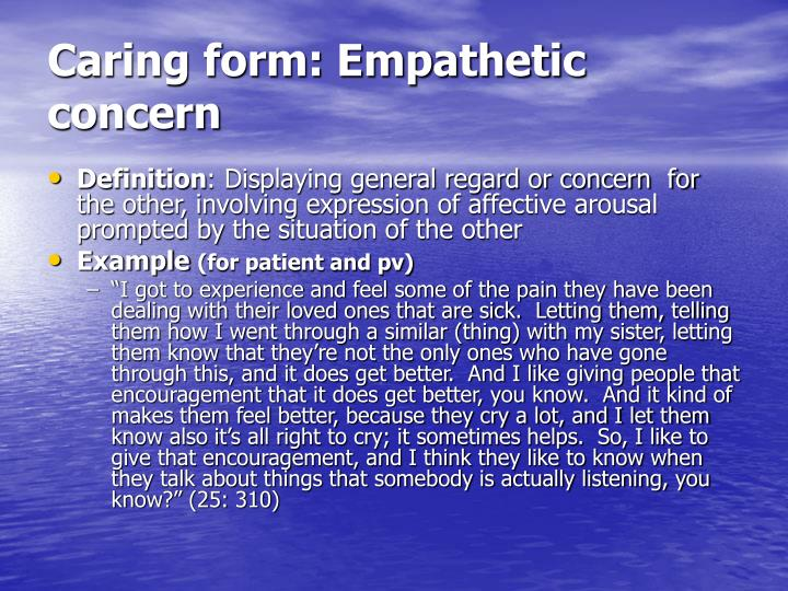 Caring form: Empathetic concern