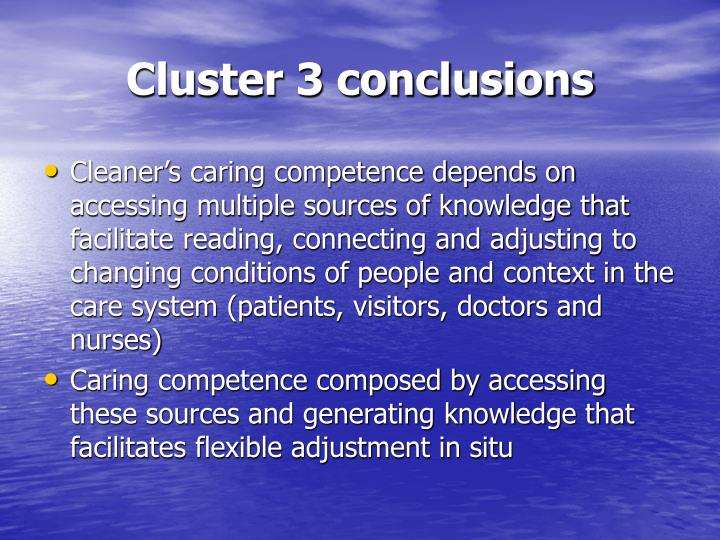 Cluster 3 conclusions