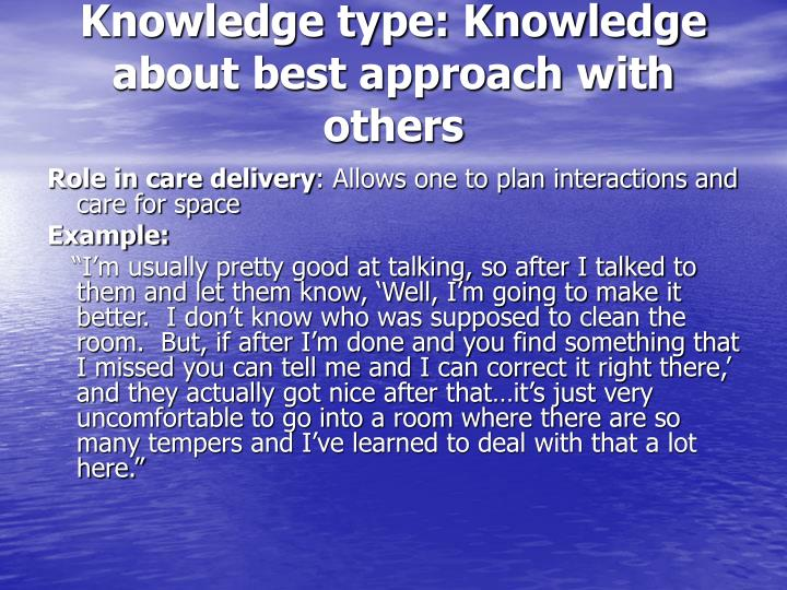 Knowledge type: Knowledge about best approach with others
