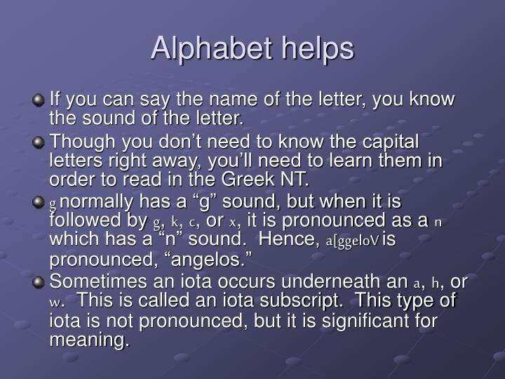 Alphabet helps