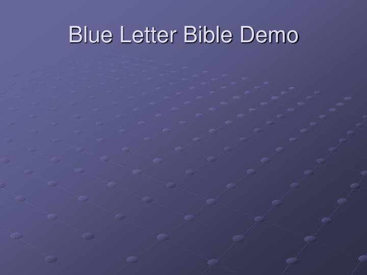 Blue Letter Bible Demo