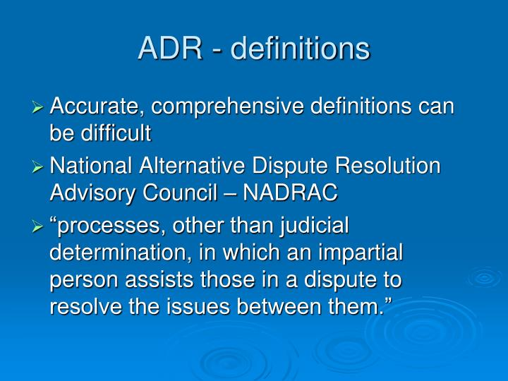 ADR - definitions