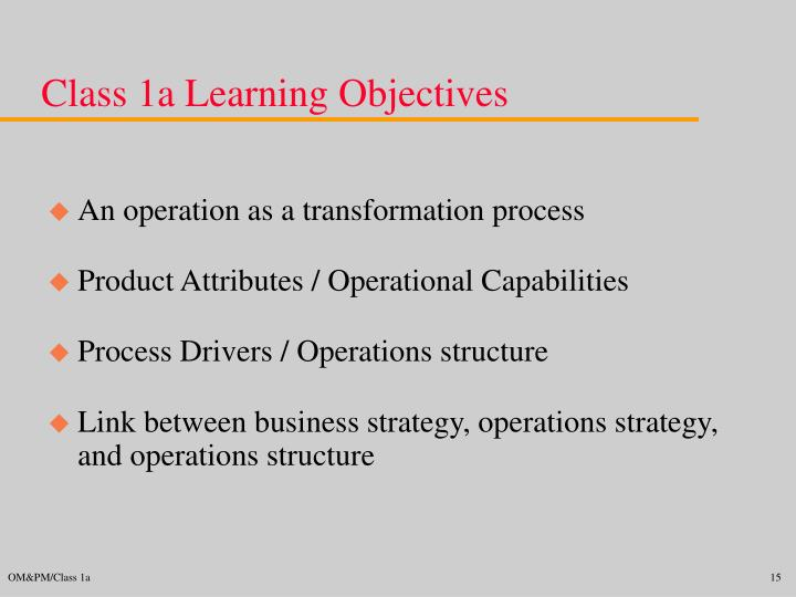 Class 1a Learning Objectives