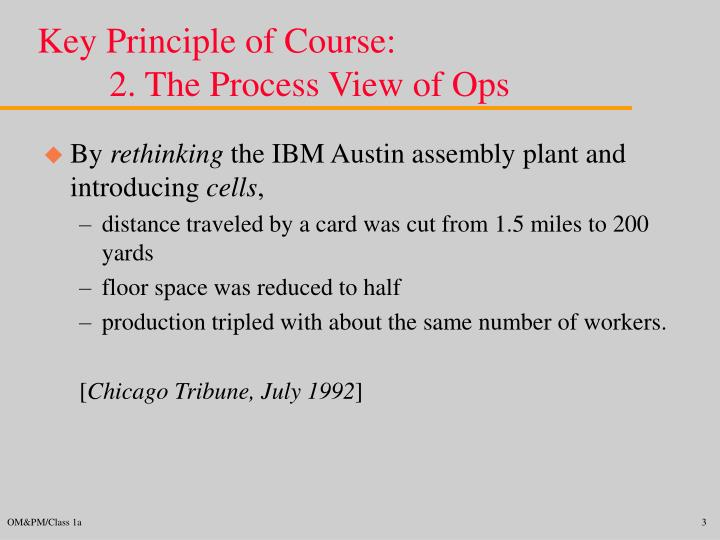 Key principle of course 2 the process view of ops