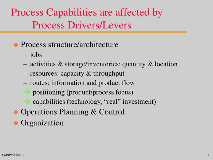 Process Capabilities are affected by Process Drivers/Levers