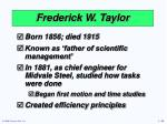 frederick w taylor