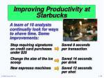 improving productivity at starbucks