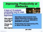 improving productivity at starbucks1