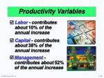 productivity variables