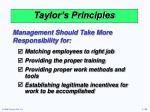 taylor s principles