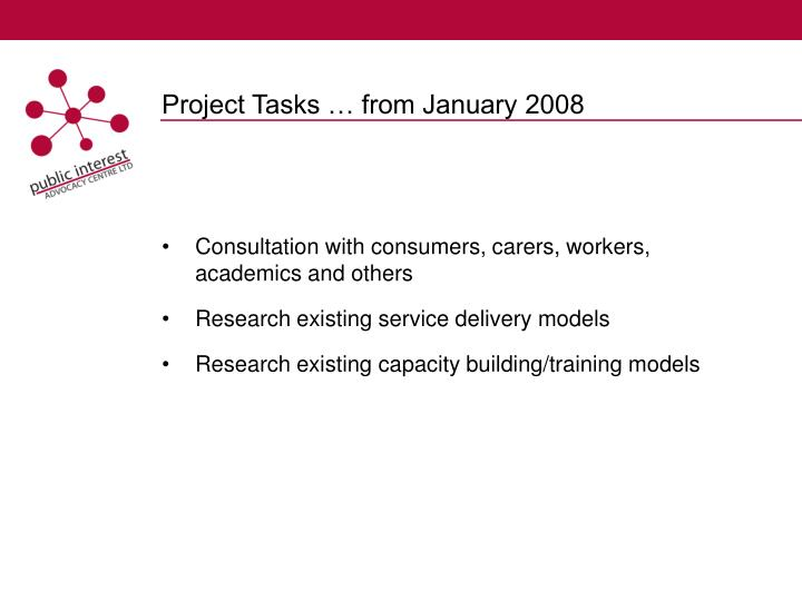 Project tasks from january 2008