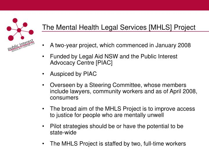 The mental health legal services mhls project