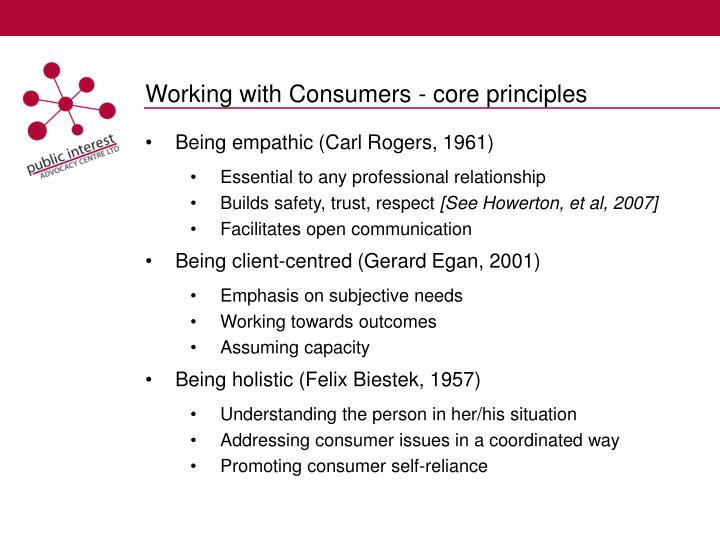 Working with Consumers - core principles