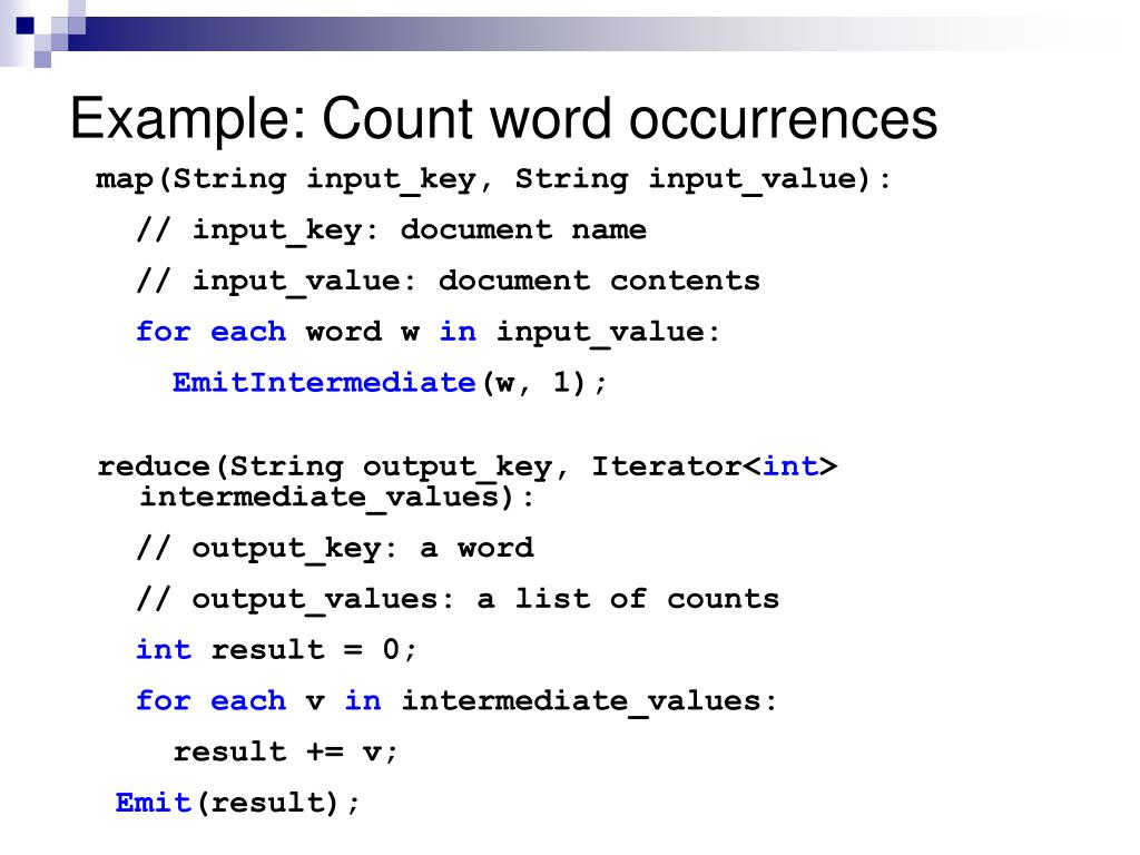 Example: Count word occurrences