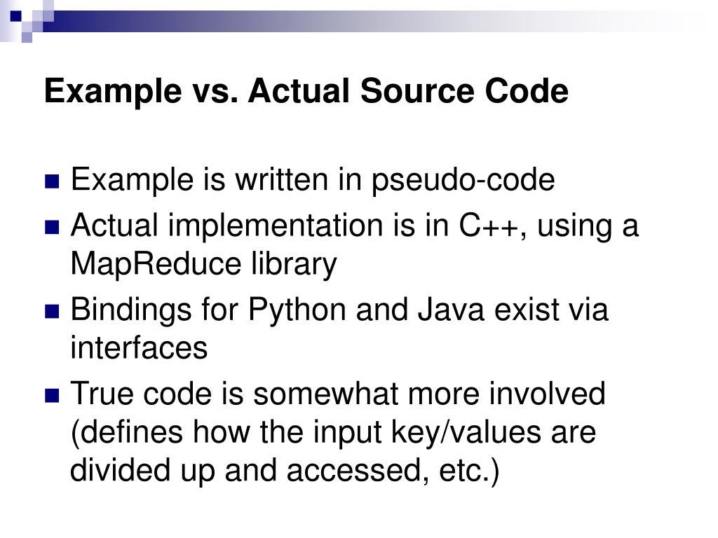 Example vs. Actual Source Code