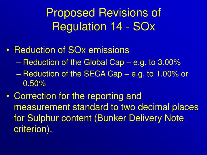 Proposed Revisions of
