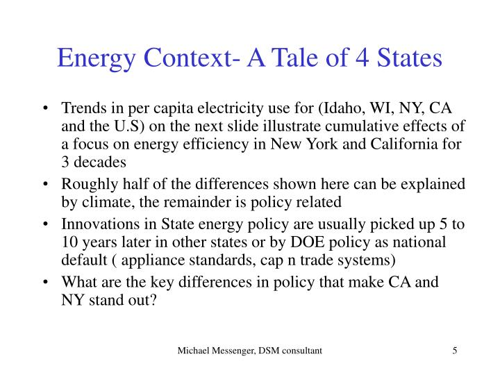 Energy Context- A Tale of 4 States